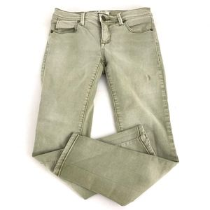 Free People Ankle Skinny Jeans Faded Green